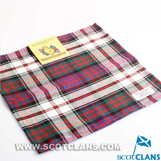 Wool Tartan Pocket Square in MacDonald Dress Tartan