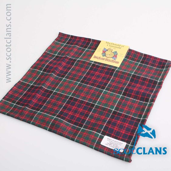 Wool Tartan Pocket Square in MacDonald of Clanranald Modern Tartan