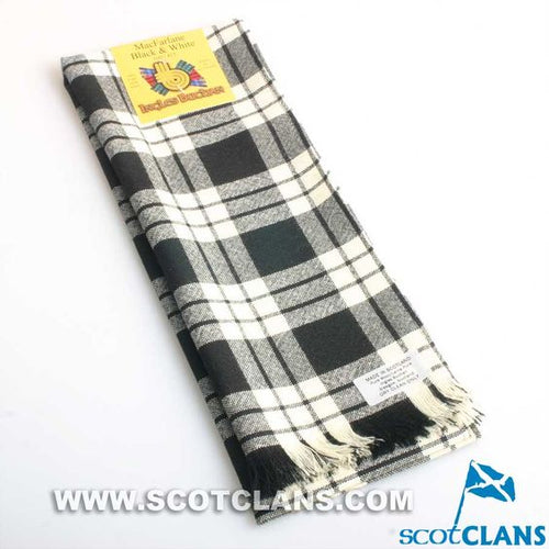 Wool Scarf in MacFarlane Black and White Tartan