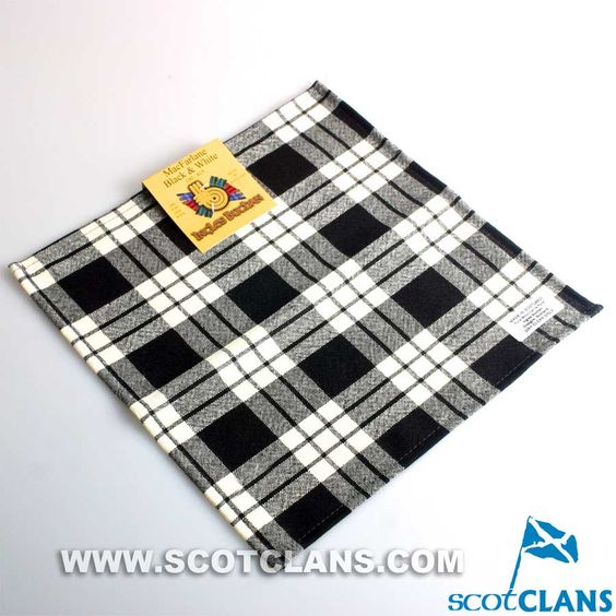 Wool Tartan Pocket Square in MacFarlane Black and White Tartan
