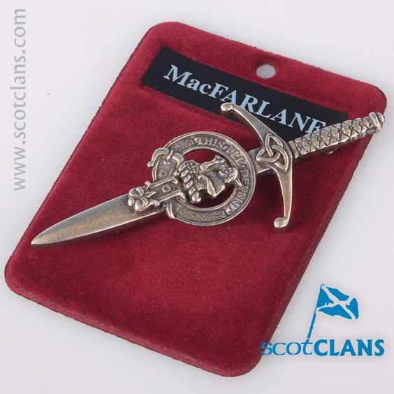 Clan Crest Pewter Kilt Pin with MacFarlane Crest