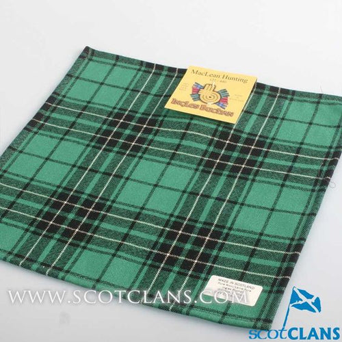 Wool Tartan Pocket Square in MacLean Hunting Ancient Tartan