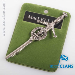 Clan Crest Pewter Kilt Pin with MacLellan Crest