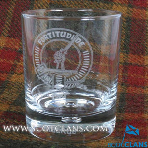 Clan Crest Whisky Glass with MacRae Crest