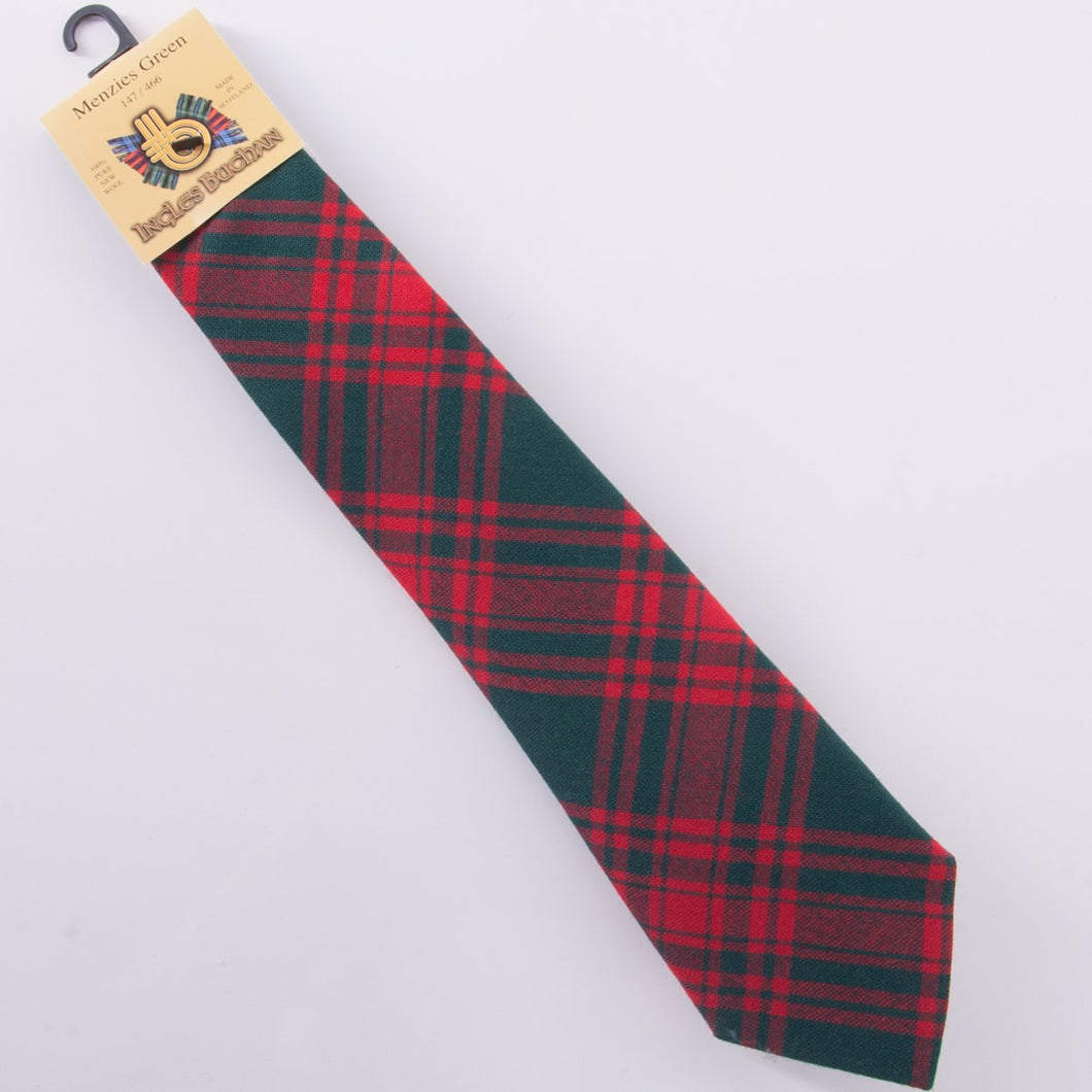 Pure Wool Tie in Menzies Green Tartan