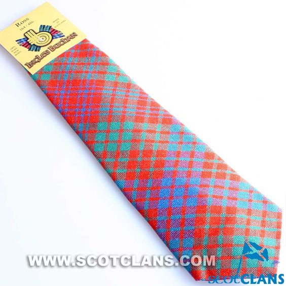 Pure Wool Tie in Ross Ancient Tartan