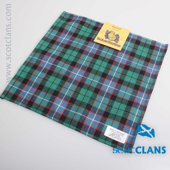 Pocket Square in Russell Ancient Tartan