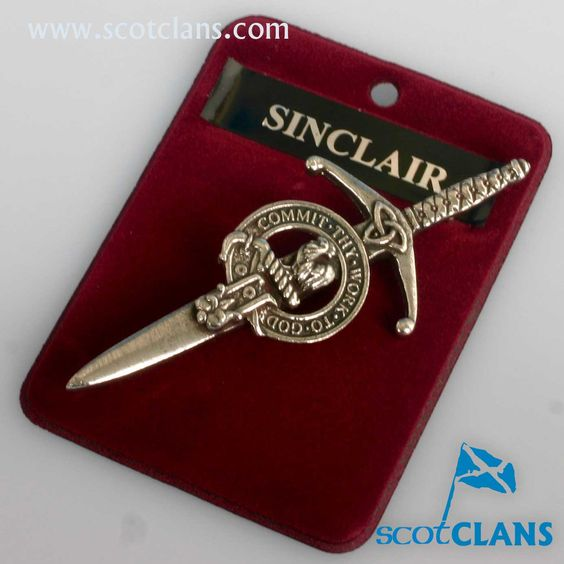 Clan Crest Pewter Kilt Pin with Sinclair Crest