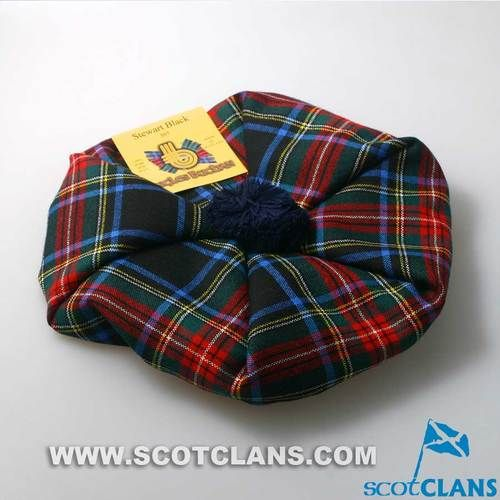 Unisex Wool Tam in Stewart Black Tartan