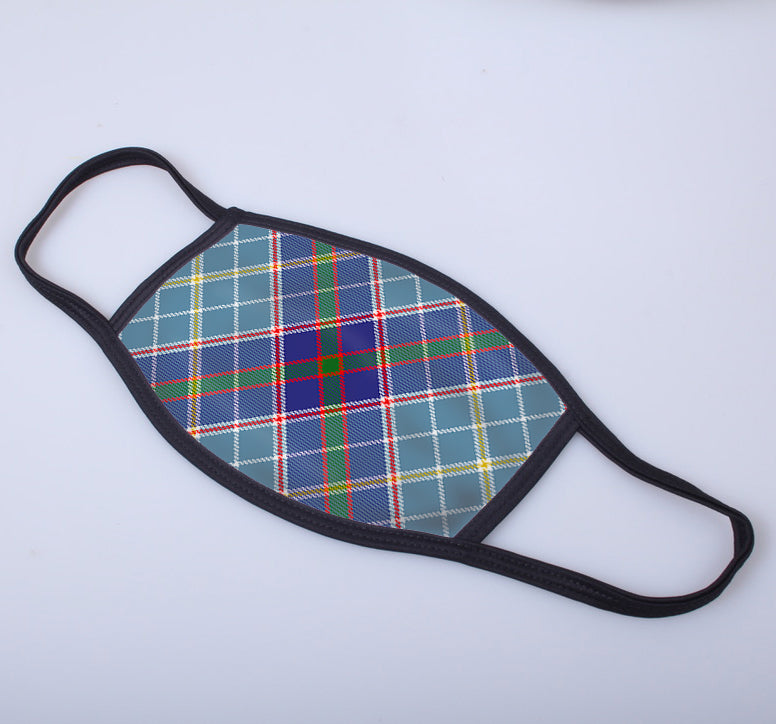 Texas Blue Bonnet Tartan Printed Face Mask