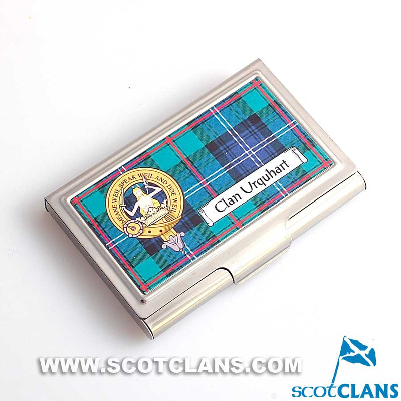 Urquhart Clan Crest and Tartan Business Card Case