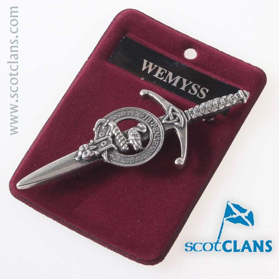 Clan Crest Pewter Kilt Pin with Wemyss Crest