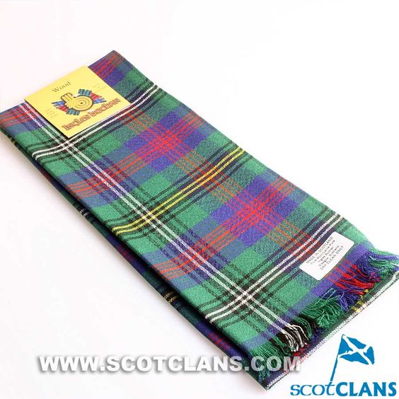 Wool Scarf in Wood Modern Tartan