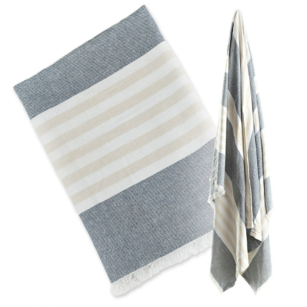 Turkish Towel - Navy & Oatmeal