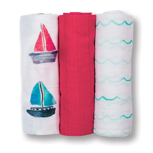 Mini Muslin Cotton Cloths - Sailboat