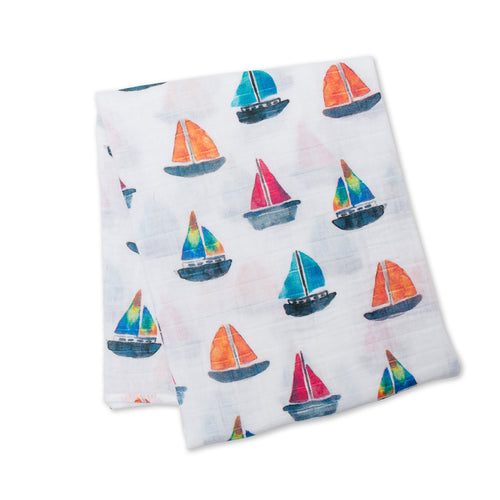 Cotton Muslin Swaddle - Sailboat