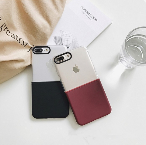 Iphone/Samsung creative stitching hard and soft 2 in 1 Protective Case