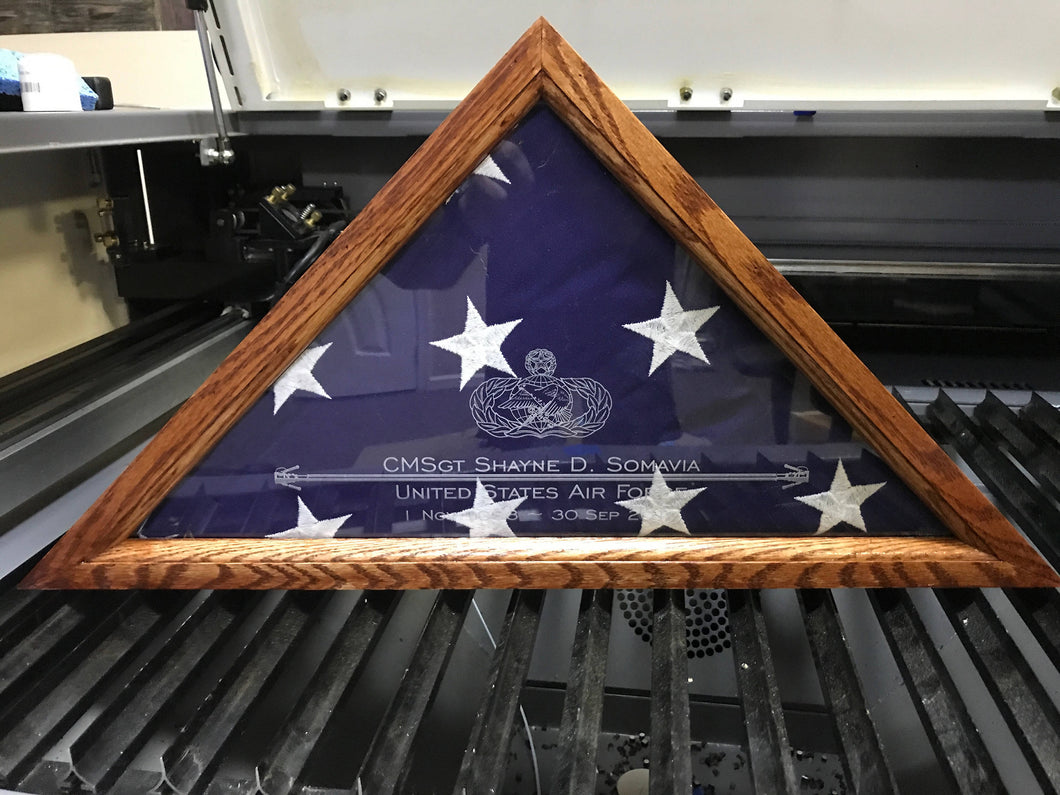Engraved Flag Display Case