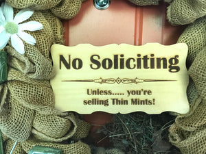"No Soliciting Sign - No Soliciting - No Solicitation - Front Door Sign - Scout Cookies - Thin Mints - Door Sign - Porch Sign - 8"" x 4"""
