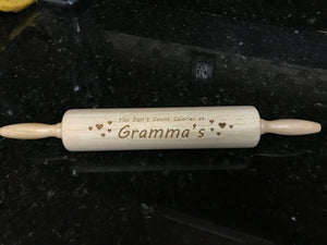 Personalized Rolling Pin - Engraved Rolling Pin - Custom Wooden Rolling Pin - Laser Embossed Rolling Pin - Custom Name Rolling Pin