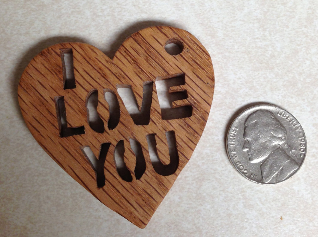 I Love You Keychain - Heart Keychain - Custom Keychain - Heart Shape - Wood Keychain - Romantic Gift - Scroll Saw Art