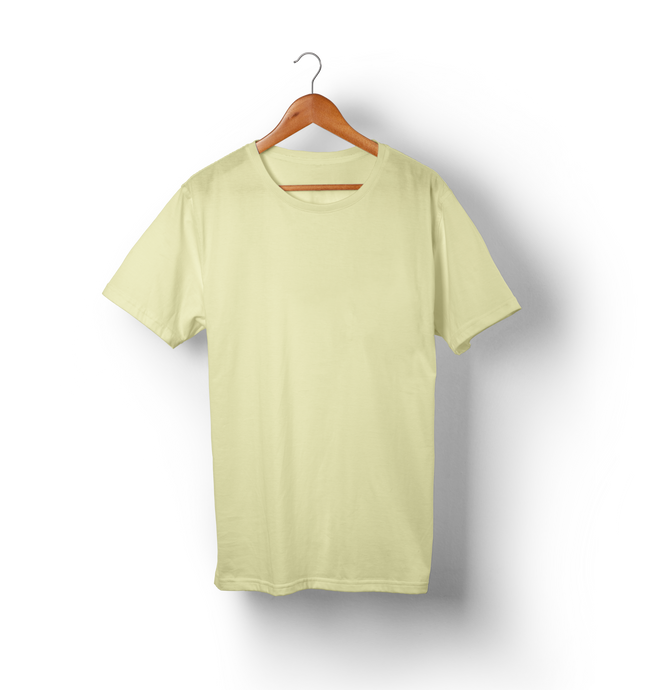 Cream - Solid Half-Sleeves T-Shirt - TheSixtyNine