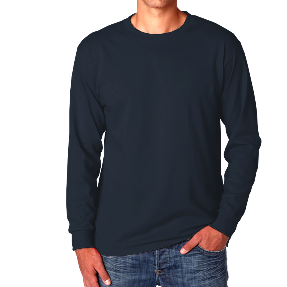 Navy Blue - Plain Full Sleeves T-Shirt - TheSixtyNine