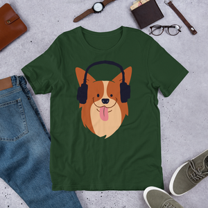 Headphones Dog- Round Neck T-Shirt - TheSixtyNine