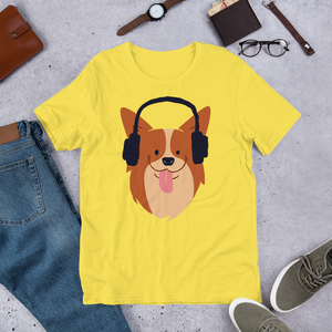 Headphones Dog- Round Neck T-Shirt For Men - TheSixtyNine
