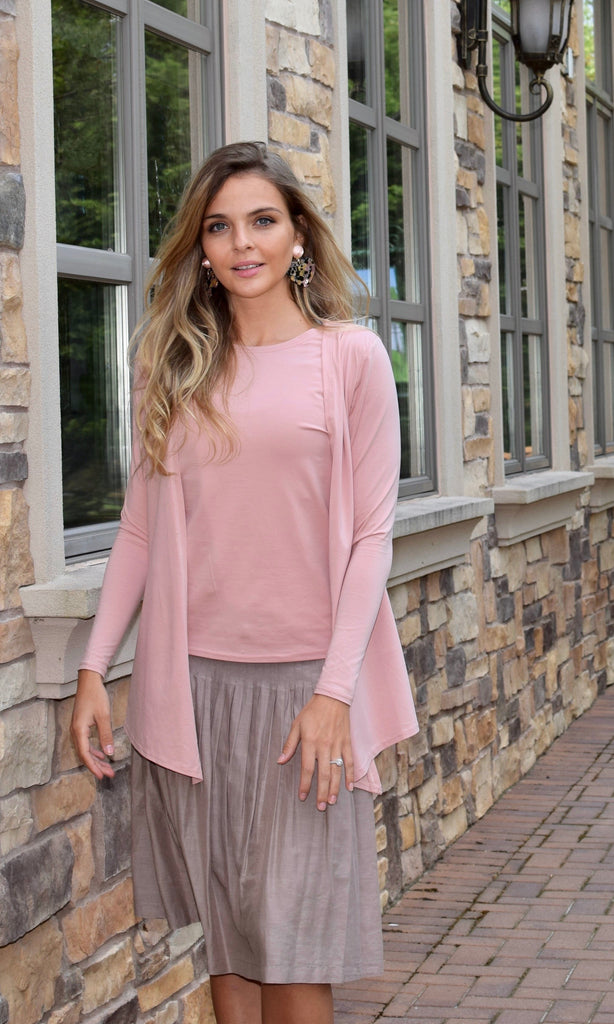 Cardigan Top Dusty Rose