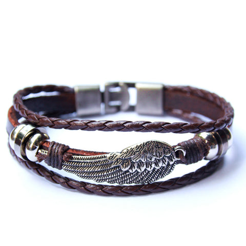 LEATHER EAGLE WING BRACELET