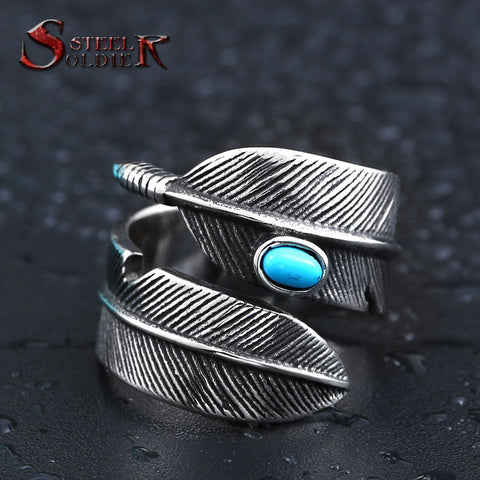 STEEL FEATHER STONE RING