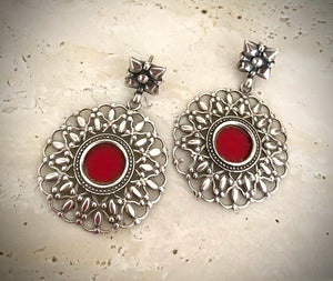 Tribal Red Carved Rounds