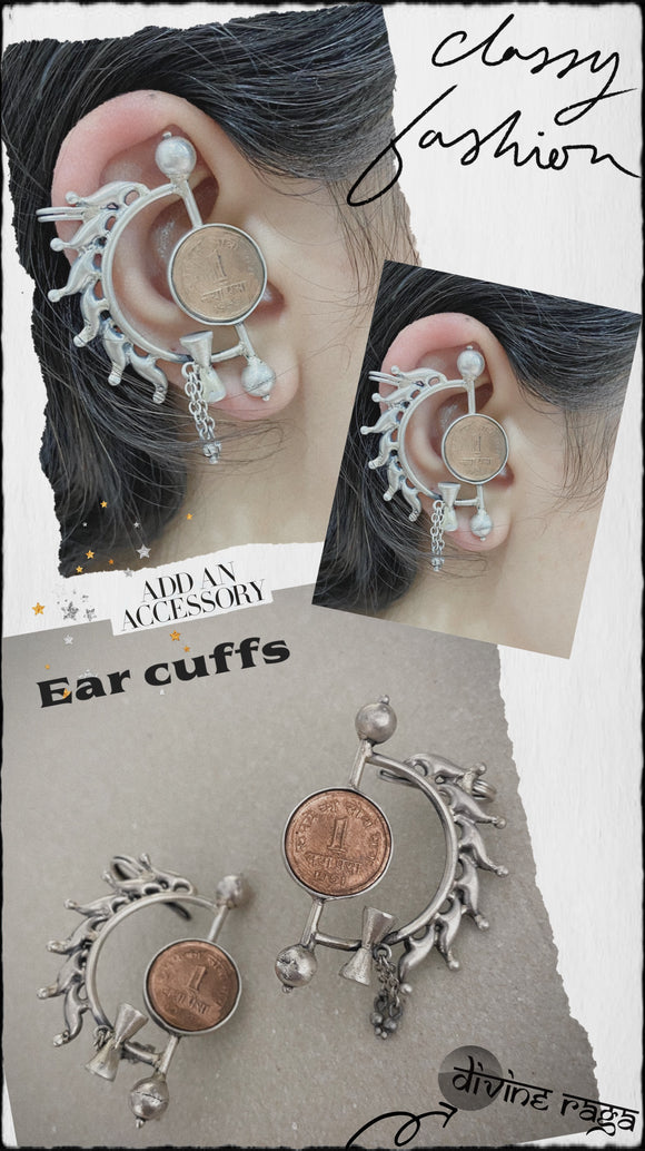 Ear cuff tribal coin look
