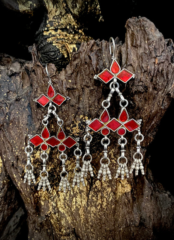 Sheesha Earring  Red Threepiece Triangle