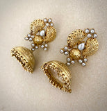 Opulent gold Pearl jhumkie