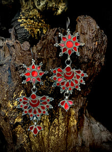 Sheesha Earring  Red Duo Flower