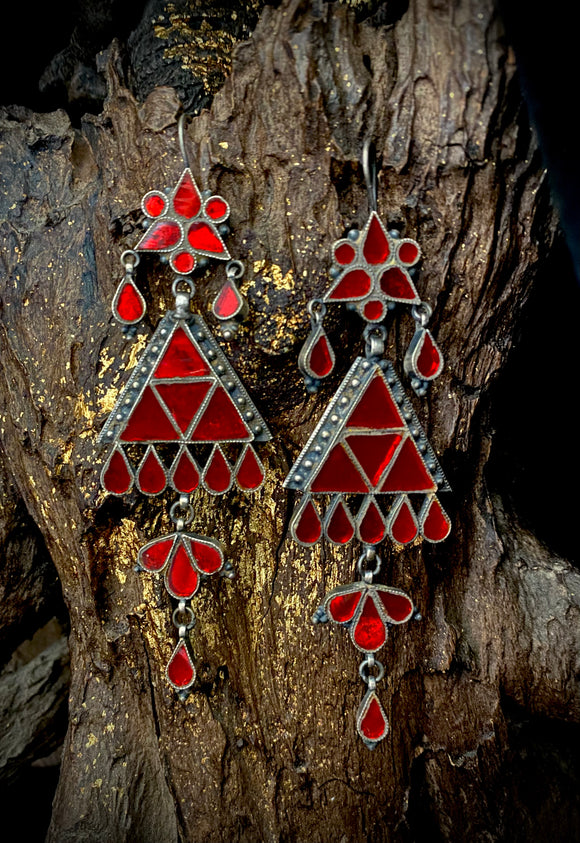 Sheesha Earring  Red Triangles