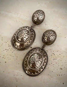 Tribal Beaten Silver Oval