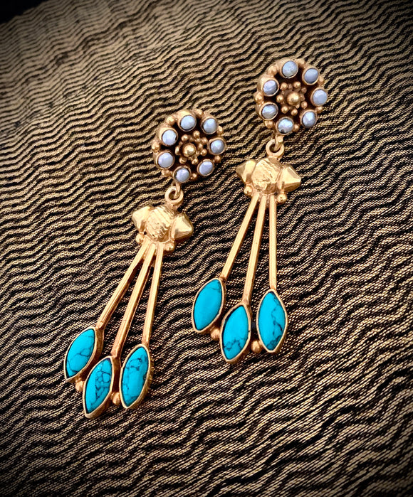 Opulent gold turquoise drops