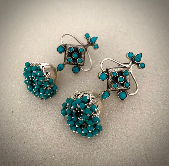 Trendy turquoise Square Jhumkie drops