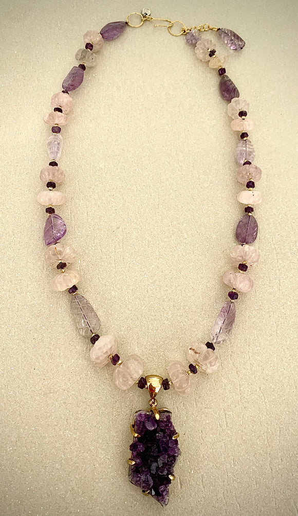 Stonned Amethyst stone necklace