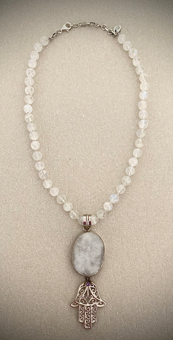 Stonned Moonstone Hamsa necklace