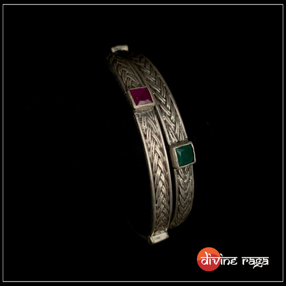 Multi glass braid bangle