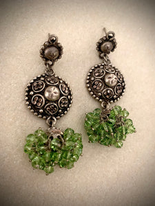 Stoned earrings with green jhumkie