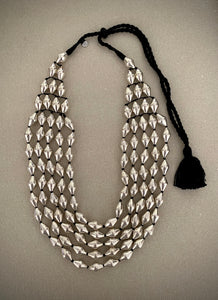 Dholki Beads five strands silver