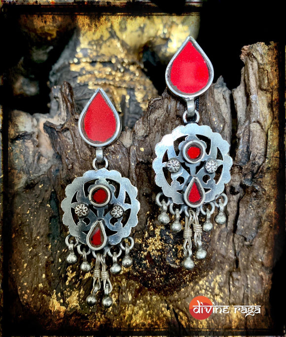 Sheesha Earrings Red Tear Drops