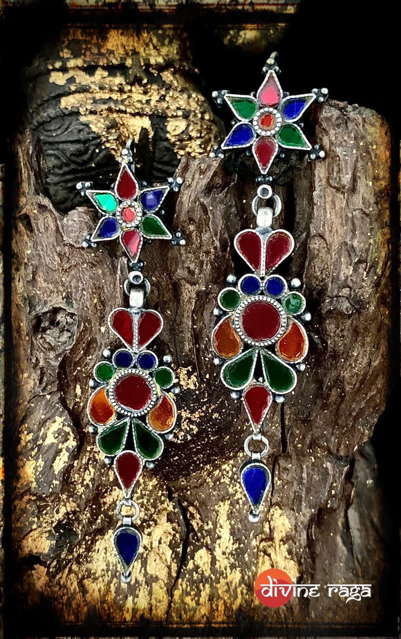 Sheesha Earring Multi Glass Floral