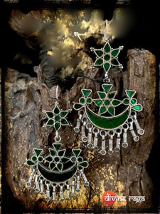 Sheesha Earring Green Half Moon