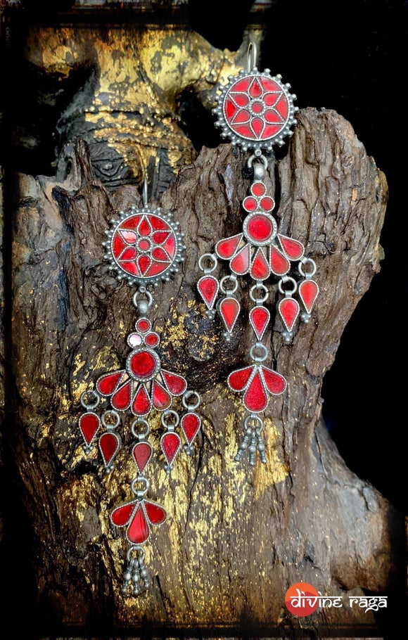 Sheesha Earring Red Floral Long